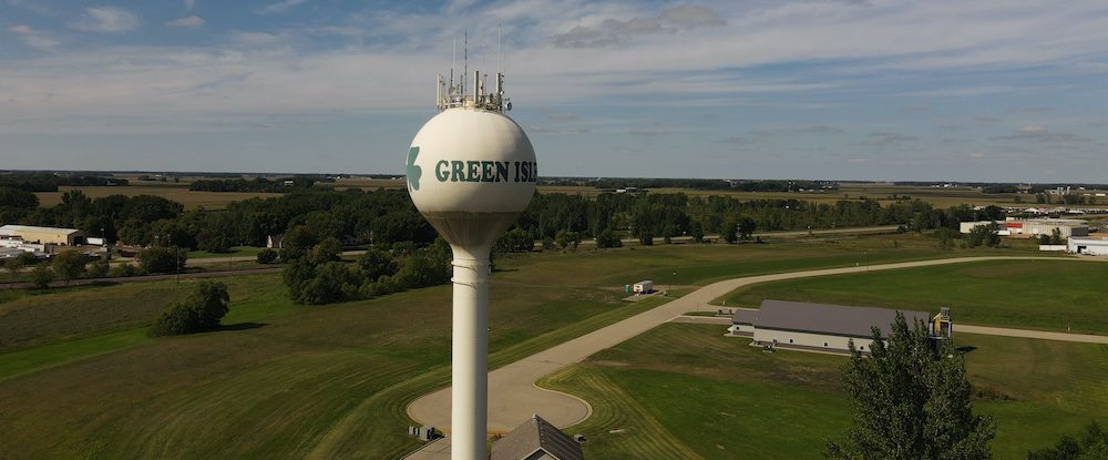 drone shot green isle water tower