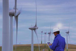 win turbine field with engineer