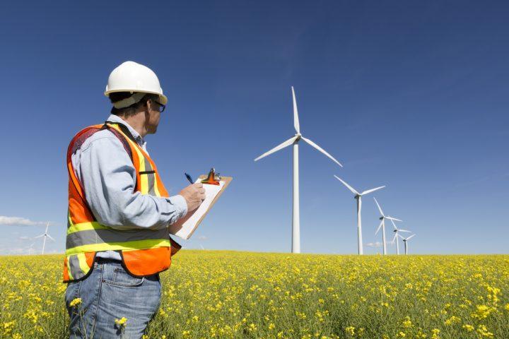 Clean energy worker surveying wind turbines