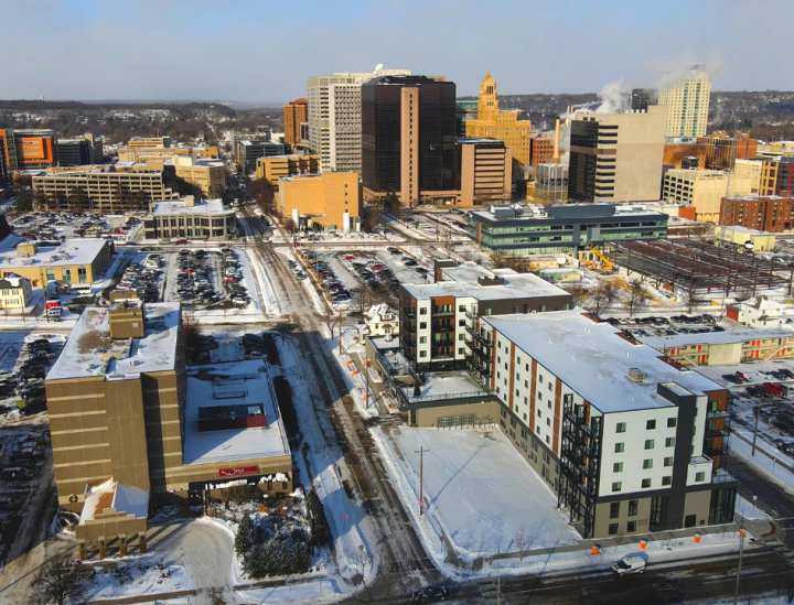 drone shot of rochester mn
