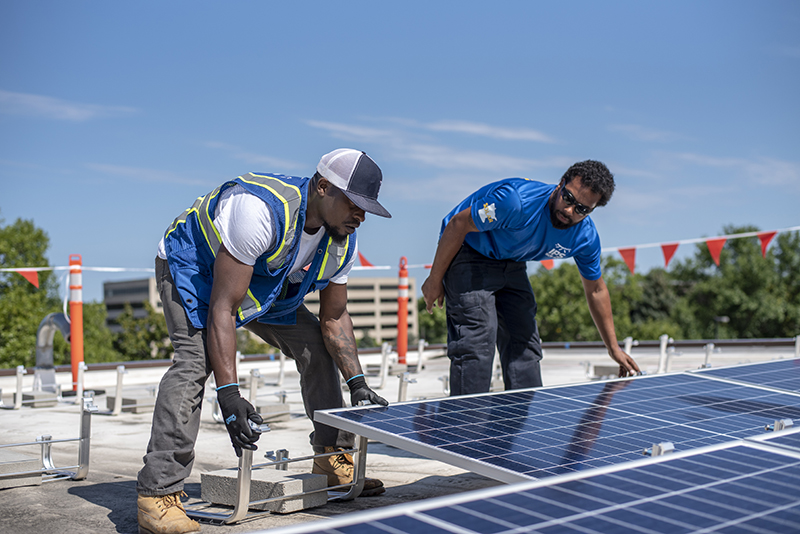 ips solar workers carrying panel