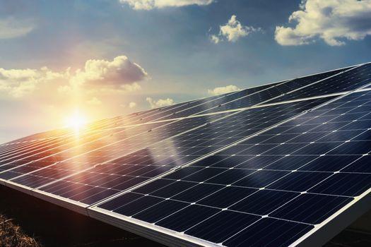 solar panels with sun glare
